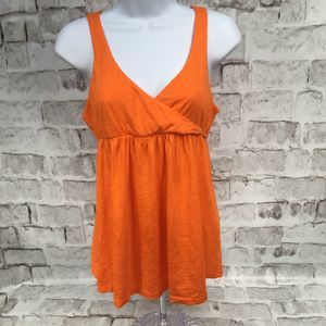 J Crew Tank Top Faux Wrap Orange